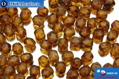 Czech fire polished beads yellow matte travertin (MT00030) 4mm, 50pc