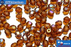 Czech fire polished beads yellow AB (X10100) 4mm, 50pc