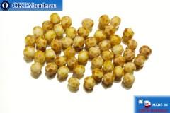 Český korálky ohňovky žlutý travertin (T03000) 4mm, 50ks