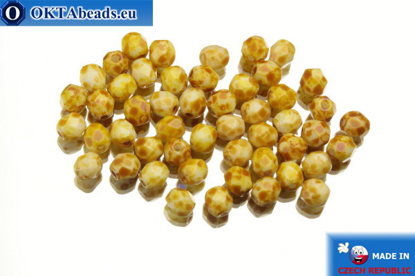 Czech fire polished beads yellow travertin (T03000) 4mm, 50pc