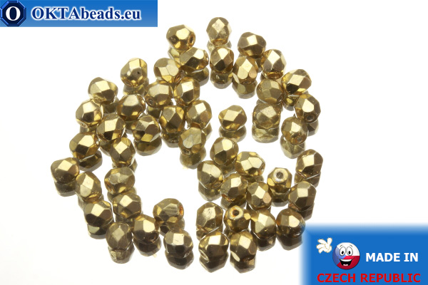 Czech fire polished beads gold (97487CR) 4mm, 50pc