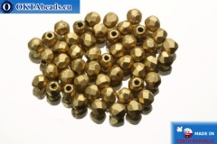 Czech fire polished beads gold matte (K0171) 2mm, 50pc