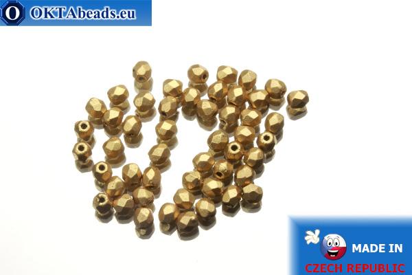 Český korálky ohňovky zlato matný (K0171JT) 3mm, 50ks