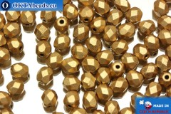 Czech fire polished beads gold matte (K0171JT) 4mm, 50pc