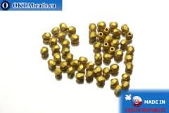 Český korálky ohňovky zlato matný (K0172JT) 3mm, 50ks