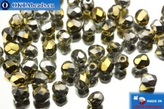Czech fire polished beads gold silver (00030/98550) 4mm, 50pc