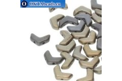 Chevron DUO beads Crystal Grey Rainbow (00030/01670) 10x4mm 10pc