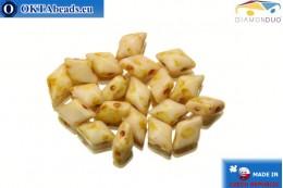 DiamonDuo dvoudírkové korálky béžový travertin 5x8mm, 20ks DD016