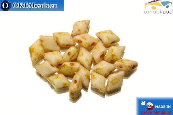 DiamonDuo 2-hole beads beige travertin 5x8mm, 20pc DD016