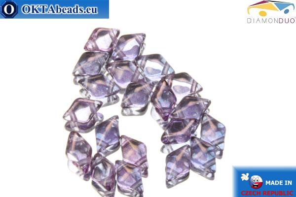 DiamonDuo dvoudírkové korálky fialový 5x8mm, 20ks