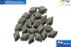 DiamonDuo 2-hole beads grey matte 5x8mm, 20pc