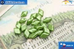 DiamonDuo бусины 2 отверстия зеленые жемчужные 5х8мм, 20шт DD031