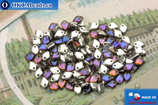 Dragon Scale бусины серебро синий витраил (00030/29636) 1,5х5мм, 5гр MK0407