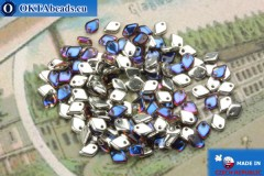 Dragon Scale бусины серебро синий витраил (00030/29942) 1,5х5мм, 5гр