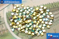 Dragon Scale Bead gold green vitrail (00030/98536) 1,5x5mm, 5gr