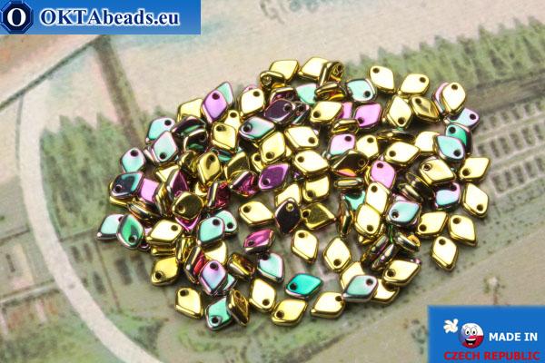 Dragon Scale Bead gold green vitrail (23980/98549) 1,5x5mm, 5gr MK0421