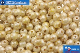 Round czech beads beige travertin (02010/65401) 4mm, 10g MK0011