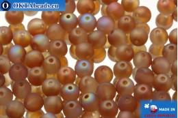 Český kulaté korálky hnědý AB matný (00030/84100/98535) 4x4mm, 10g MK0057