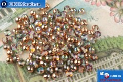 Round czech beads crystal copper vitrail (00030-98533) 4mm, 10g, MK0543
