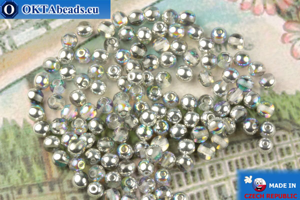 Round czech beads crystal silver vitrail (00030-98530) 4mm, 10g MK0545