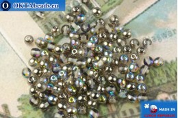 Round czech beads crystal silver vitrail (00030-98537) 4mm, 10g MK0544