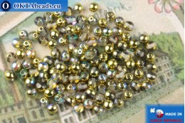 Round czech beads crystal gold vitrail (00030-98536) 4mm, 10g MK0542