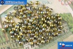 Round czech beads crystal gold vitrail (00030-98536) 4mm, 10g, MK0542