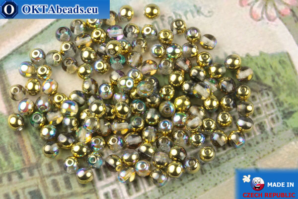Round czech beads crystal gold vitrail (00030-98536) 4mm, 10g