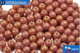 Round czech beads pink gold luster (02010/14495) 4mm, 10g MK0006