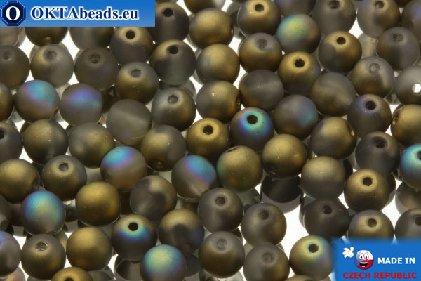 Czech round druck beadsgrey gold AB matte (00030/84100/98536) 4x4mm, 10g MK0058