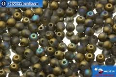 Český kulaté korálky šedý zlato AB matný (00030/84100/98536) 3x3mm, 10g MK0049