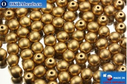 Round czech beads gold matte (00030/01710) 4mm, 10g MK0002