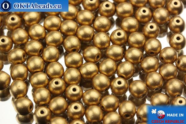 Český kulaté korálky zlato matný (00030/01710) 4mm, 10g MK0002