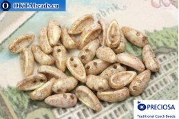 Preciosa Chilli бусины 2 отверстия бежевые травертин (02010/15726) 4х11мм, 30шт MK0324