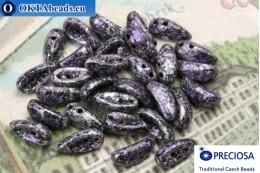 Preciosa Chilli бусины 2 отверстия черные фиолетовые серебро (23980/45710) 4х11мм, 30шт MK0343
