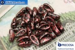 2-hole Preciosa Chilli Beads black red silver (23980/45705) 4x11mm, 30pc