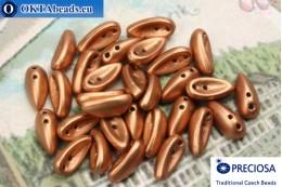Preciosa Chilli бусины 2 отверстия медь матовые (02010/15496) 4х11мм, 30шт MK0322