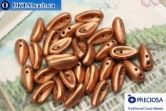 2-hole Preciosa Chilli Beads copper matte (02010/15496) 4x11mm, 30pc