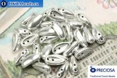 2-hole Preciosa Chilli Beads silver (93120) 4x11mm, 30pc