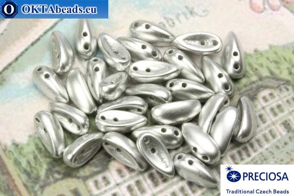 2-hole Preciosa Chilli Beads silver matte (02010/15435) 4x11mm, 30pc