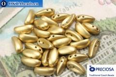2-hole Preciosa Chilli Beads gold matte (02010/15495) 4x11mm, 30pc