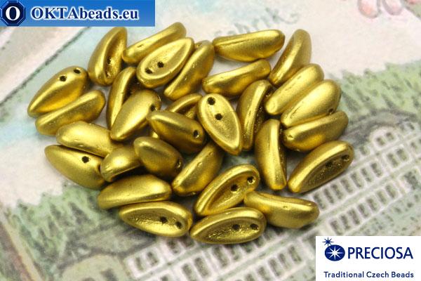 2-hole Preciosa Chilli Beads gold matte (23980/15726) 4x11mm, 30pc