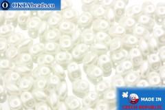 Superduo bílý perlový (25001AL) 2,5x5mm, 10g