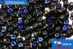 Superduo černý modrý (BR23980) 2,5x5mm, 10g