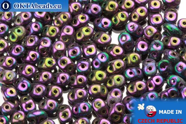 Superduo fialový iris (21495JT) 2,5x5mm, 10g