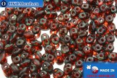 Superduo red travertin (T90030) 2,5x5mm, 10g