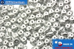 Superduo silver matte (K0170) 2,5x5mm, 10g