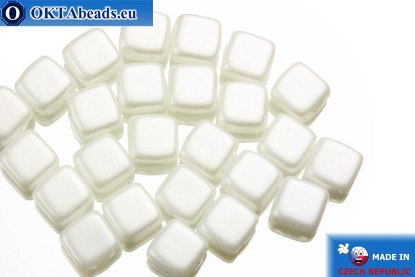TILE Czech 2-hole beads white pearl (25001AL) 6mm25pc