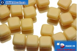 TILE Czech 2-hole beads beige 6mm, 25pc TL2