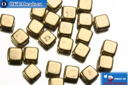 TILE Czech 2-hole beads bronze (B23980) 6mm25pc TL19
